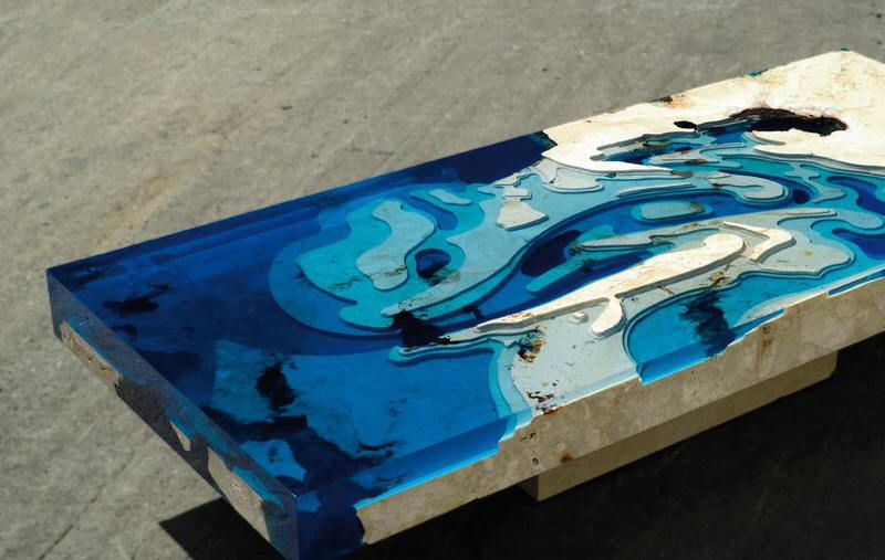 Lovely Lagoon Tables In Travertine Marble And Resin By LA TABLE