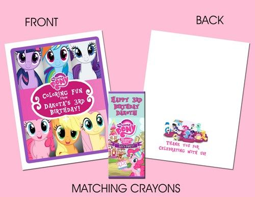 My Little Pony Personalized Coloring Book/Crayon Favor Set ...