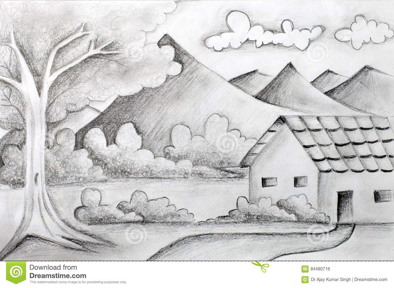 original pencil sketch of a landscape download from over 61