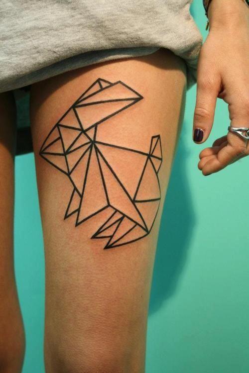 tatto lapin origami sur la cuisse | tatouages (tattoos) | tattoos