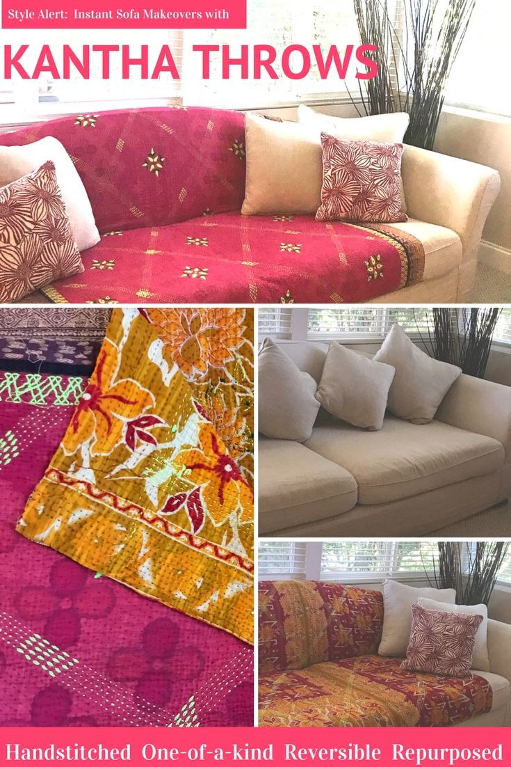 Choose your oneofakind vintage kantha throw for an instant two