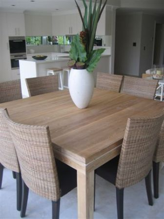 Beachwood Furniture Solid Limed Oak Modern Square Dining Table