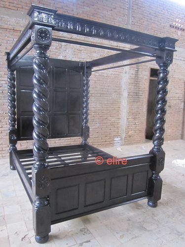 Best Stock King Size Black Four Poster Tudor Bed With 2 Bedside 400 x 300