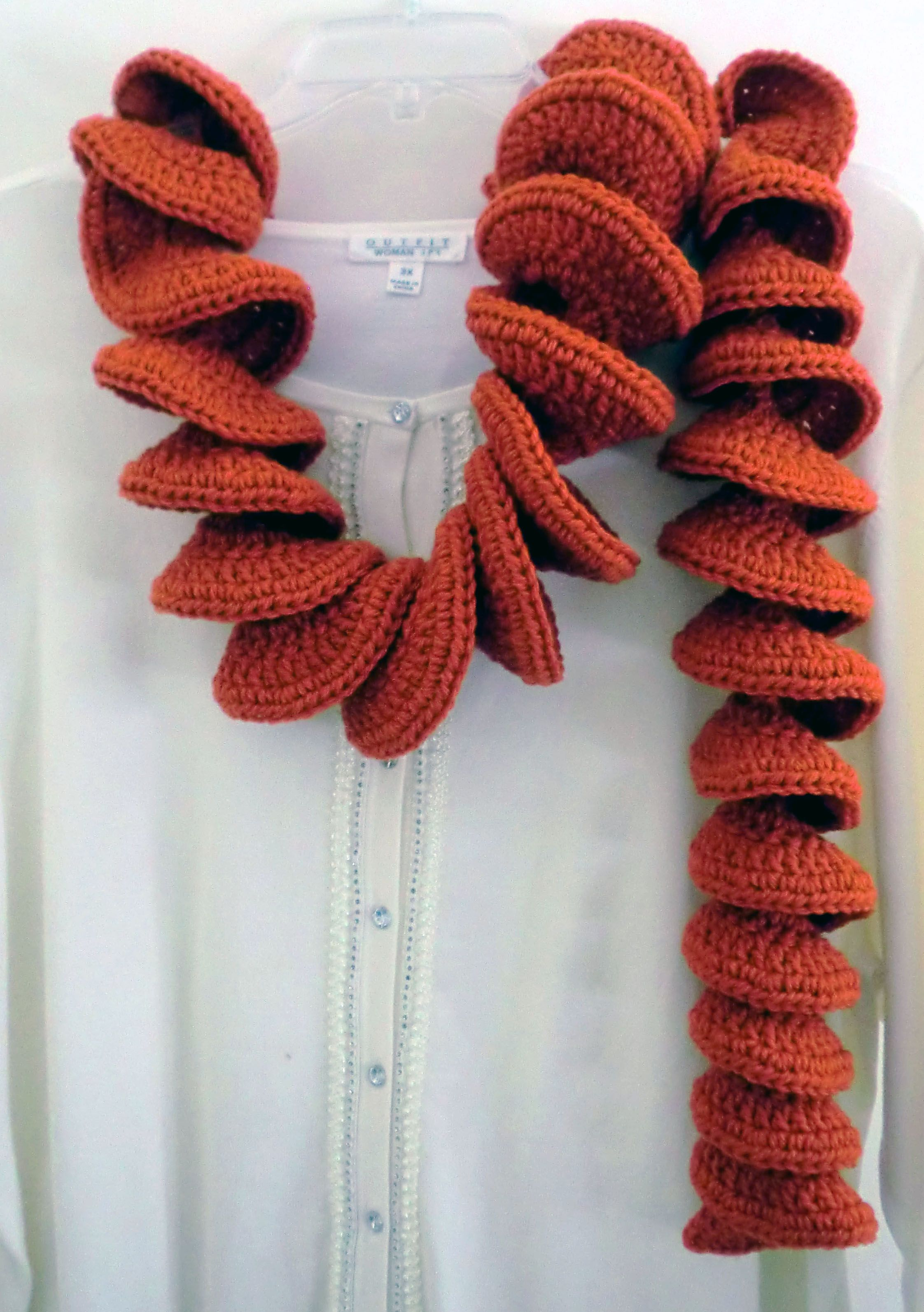 Pumpkin colored scarf crocheted from Lion Brand Curly Scarf pattern ...