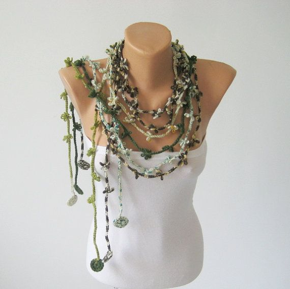 Woodland Scarf Lariat, Bohemian Scarflette, Crocheted Flower Necklace, Women Gift Idea, Set three Green / Brown, Soft Boho Accessory