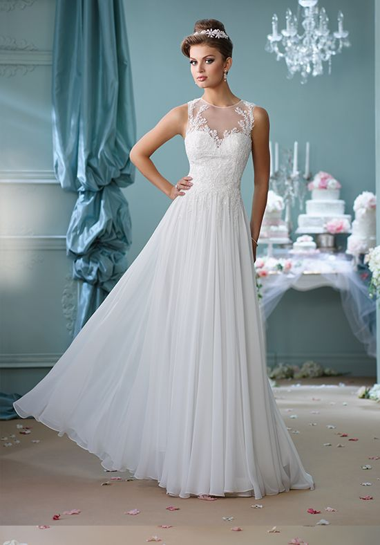 Sleeveless chiffon a-line wedding dress | Mon Cheri 116127 | http://trib.al/10tyZHO