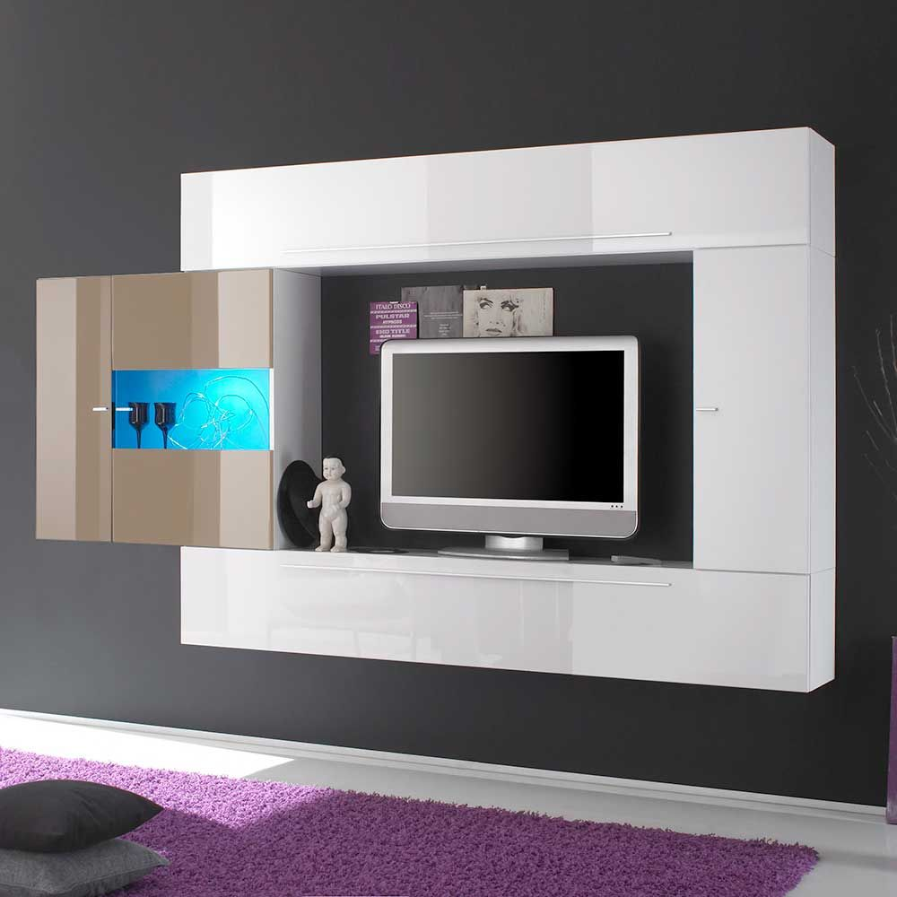 TV Wohnwand In Weiß Hochglanz Beige Hängend (4 Teilig) Wohnzimmerschrank, Wohnwand,