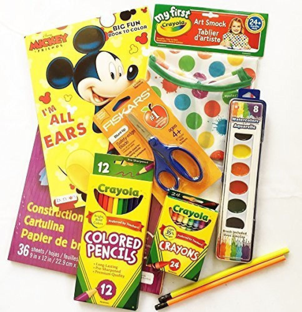 Art Supply Kit For Kid Crayons Colored Pencils Watercolors Smock Coloring Book Kids Art Supplies Art For Kids Kits For Kids
