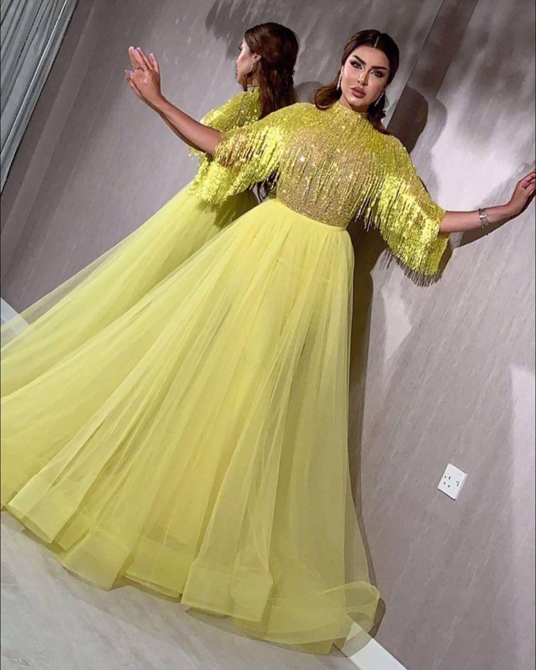 Gorgeous Yellow Dubai Evening Dress Beading A Line Tulle Formal Plus Size Prom Dresses Long Party Gow In 2021 Evening Dress Beaded Long Party Gowns Dubai Fashion Women [ 1350 x 1080 Pixel ]