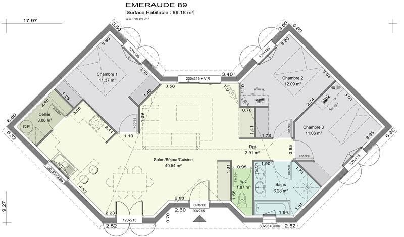 Maison 5 pièces + Terrain 1600 m² Bégaar (40400) par LES MAISONS LCA - logiciel plan de maison