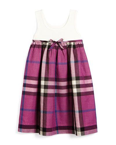 Z1F9M Burberry Check Tank Dress, Natural White, Girls' Sizes 4Y-14Y