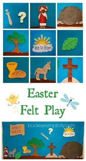 DIY Easter Felt Play. Fun, interactive way to teach your children the Easter story. http://buckeyesimplicity.com/