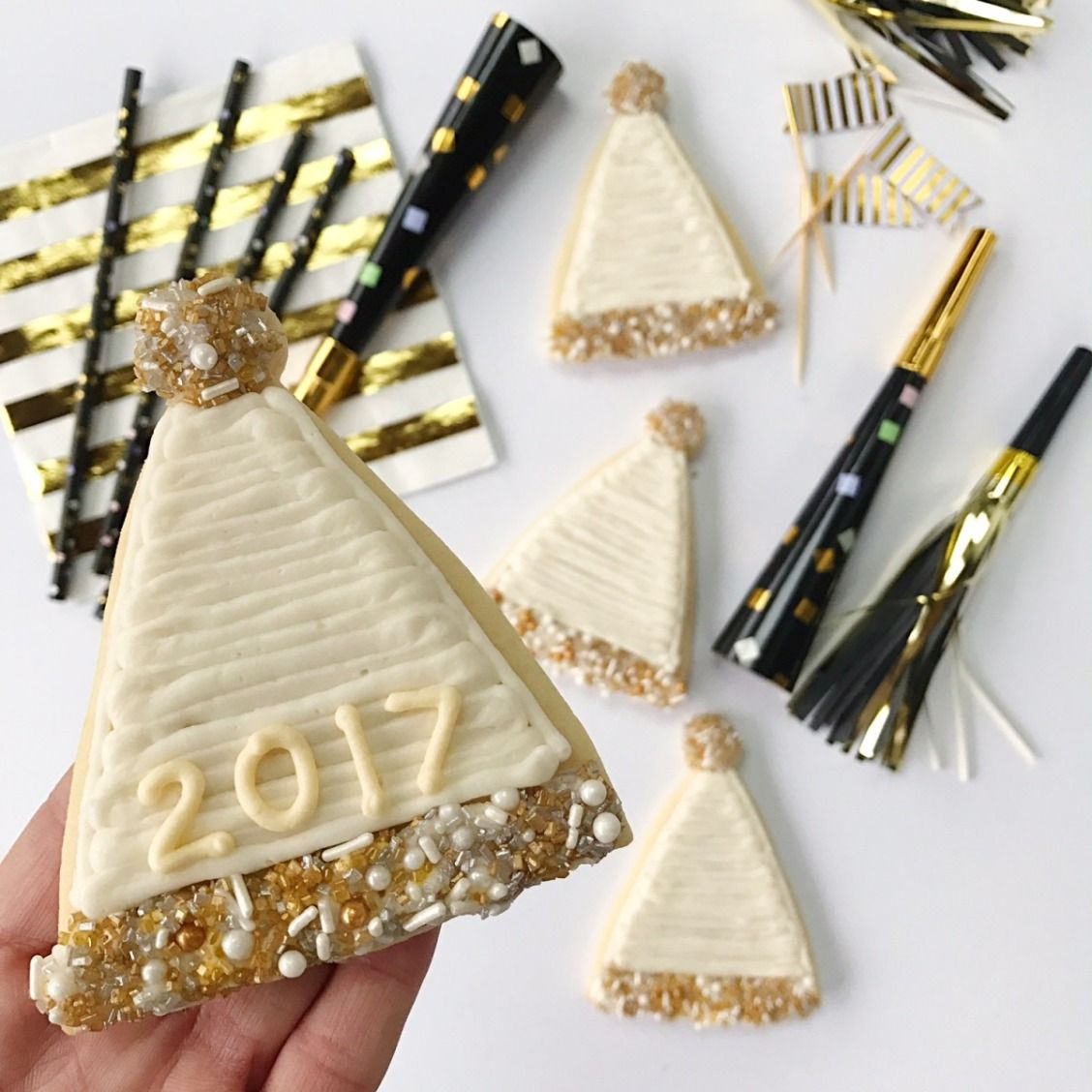Fun New Years Eve party hat sugar cookies with gold and white ...