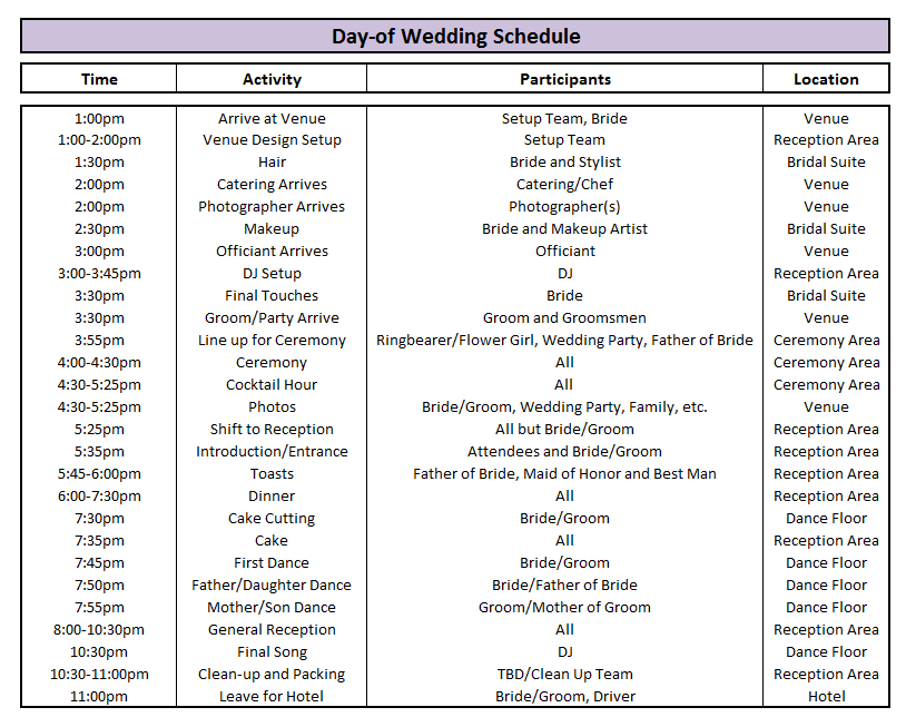 day of wedding schedule great tips for planning out your. Black Bedroom Furniture Sets. Home Design Ideas