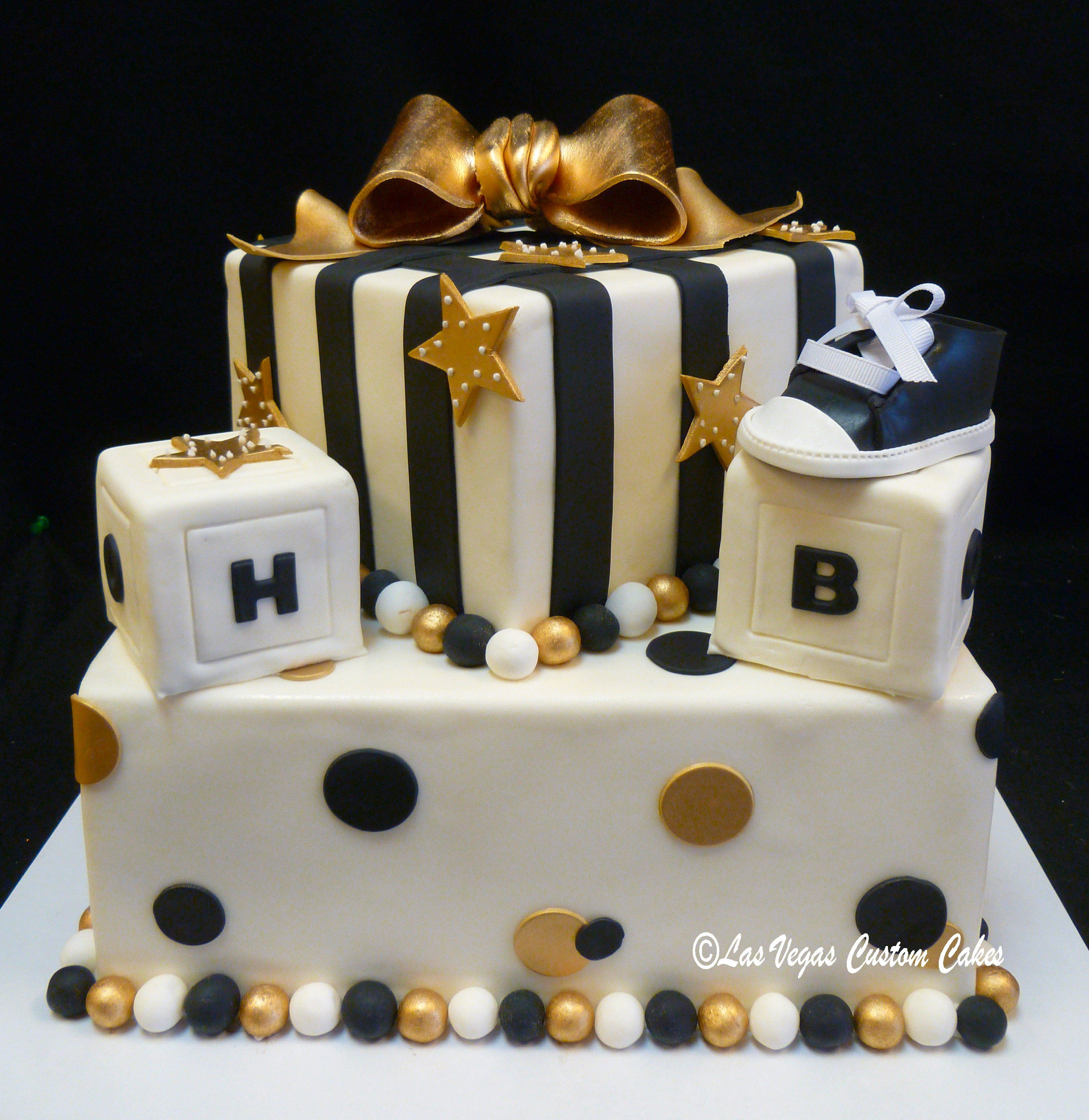 Gold Black White Blocks Shoe And Bow Baby Shower Cake Gold Baby Shower Cake Baby Shower Cakes For Boys Bow Baby Shower