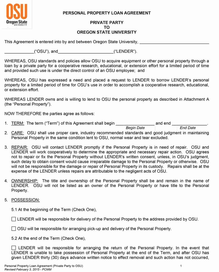 Loan Contract Template Free in 2020 Contract template