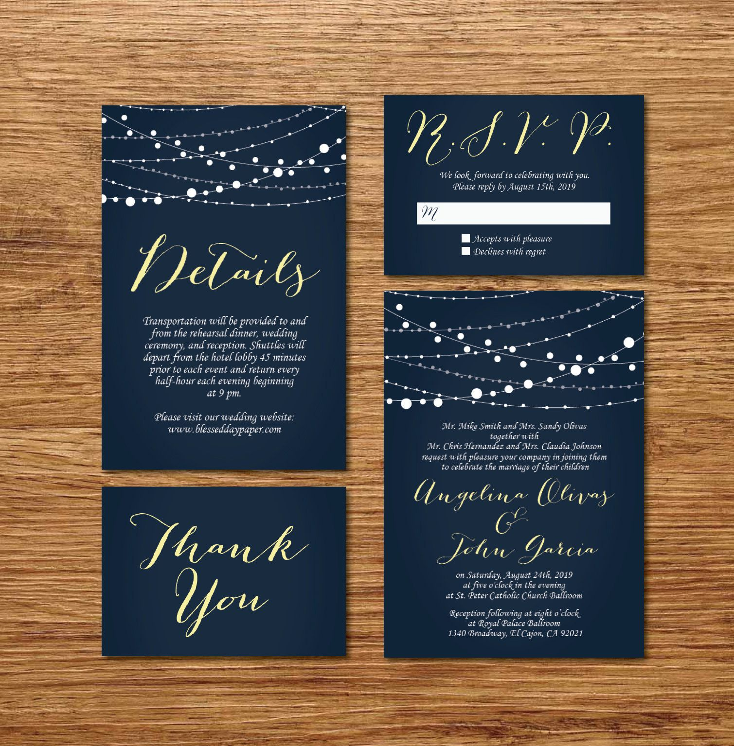 Printable Starry Night Lights Wedding Invitation Wedding Invitation Template Navy Blue Wedd Wedding Invitation Templates Thank You Card Size Starry Night Light