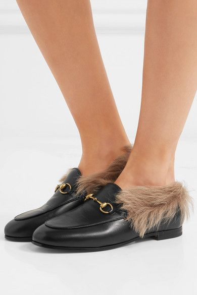 6d490d1dd Gucci - Jordaan Horsebit-detailed Shearling-lined Leather Loafers - Black