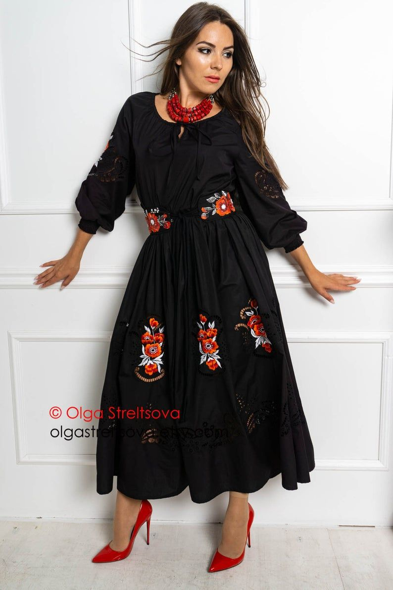 This Is A Black Dress With Satin Stitch Embroidery Is The Perfect Dress For Summer Evenings A Loose Fit Shape With A D Cutwork Dress Embroidered Dress Dresses [ 1191 x 794 Pixel ]