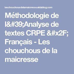 Méthodologie de l'Analyse de textes CRPE / Français (avec ...