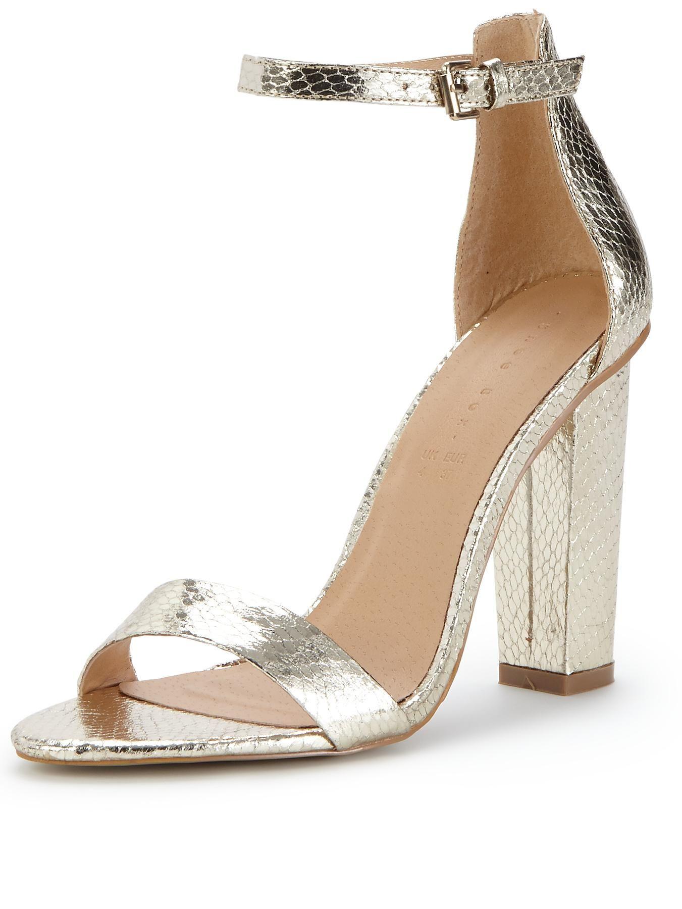 block heel gold sandals uk