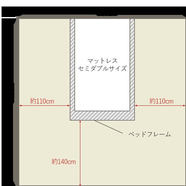 8畳の寝室の中央にセミダブルベッドレイアウト 8畳 4畳 6畳