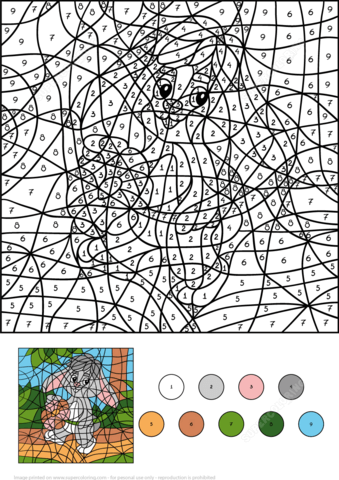 rabbit with flower colornumber coloring page from colornumber worksheets categ…  free