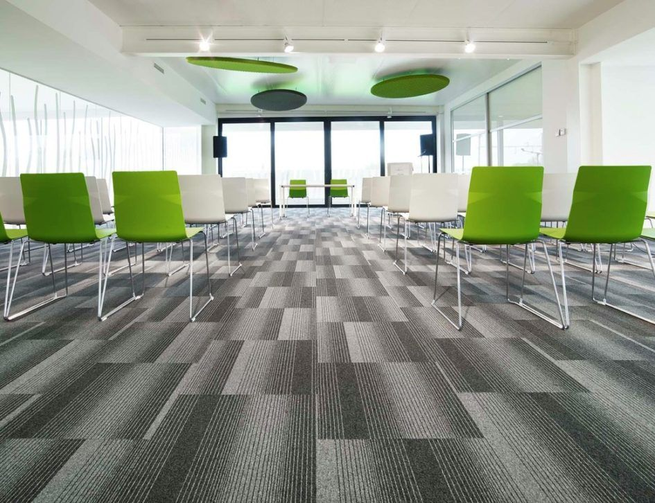 Flooring Ideas Modern Office Interior Design With Grey Carpet Tiles Pattern And White Blue