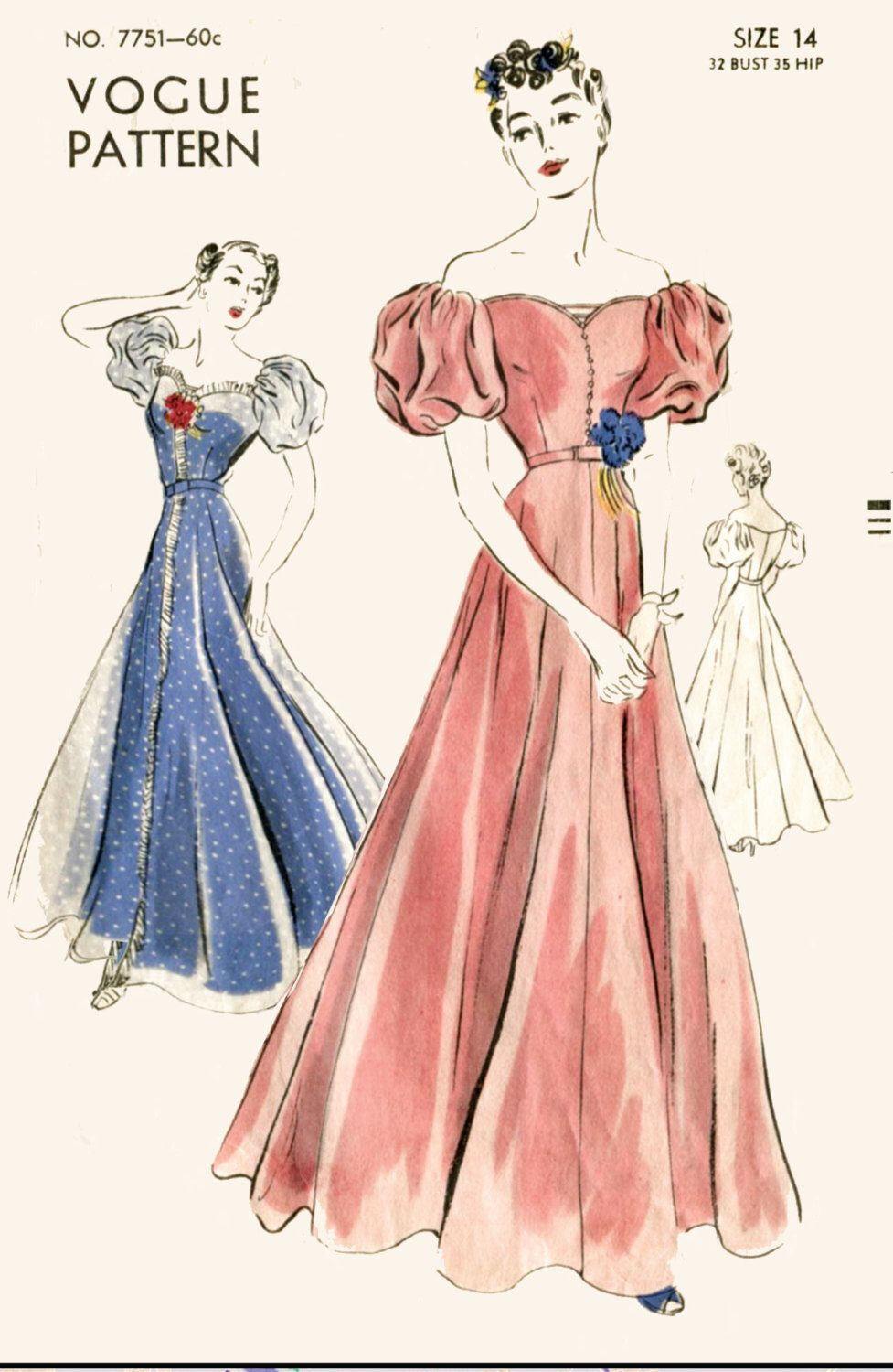 Vintage sewing pattern 1930s 1940s evening gown cocktail wedding ...