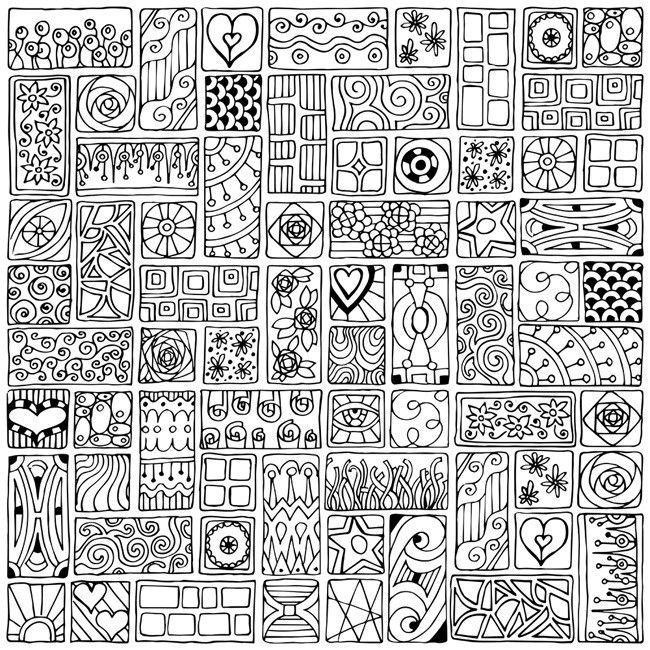 Mosaic Squares I Doodling Art