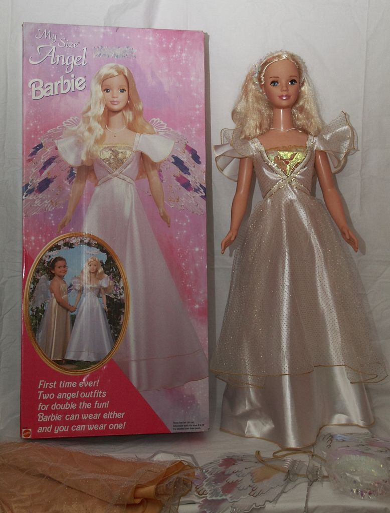 New 1998 Mattel My Size Angel Barbie In Box 2 Angel Outfits Rare