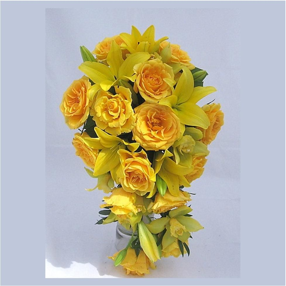 Cascading Yellow Roses Cymbidium Orchids Details Bridal