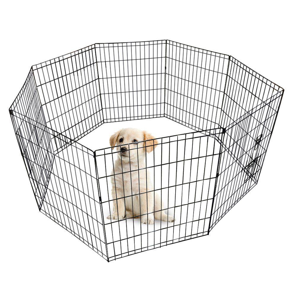 World Backyard Double Door Folding Metal Dog Crate Dog Cat ...