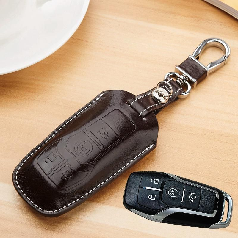 Leather Key Fob Cover For Ford 2014 2015 2016 Mendeo Fusion F150 Explorer Taurus Mustang Edge Key Holder Case Key Chain Cover Leather Key Fobs Leather Key Accessories