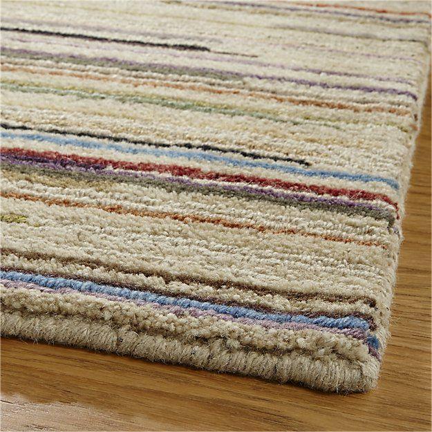 Wool Rug 9 X12 Pencil Thin Stripes