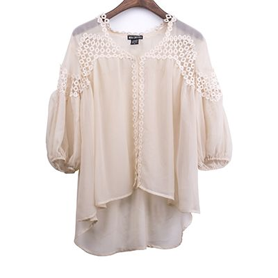 Crochet Embellished Woven Fabric Blouse