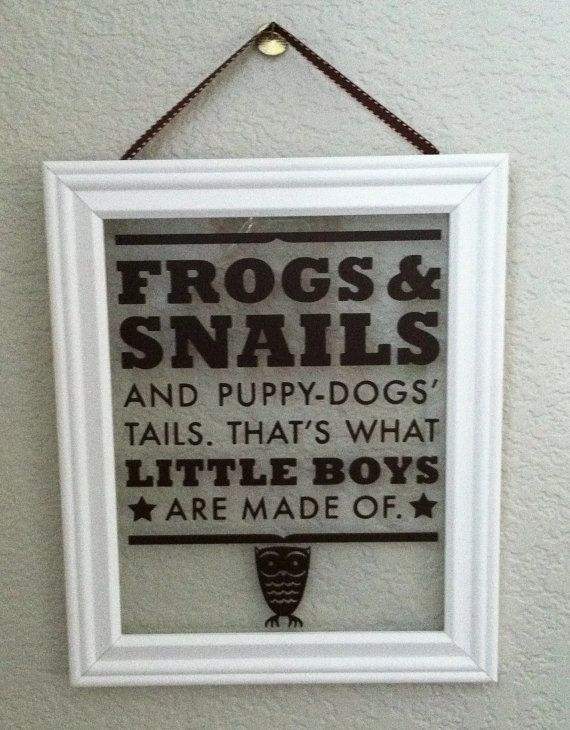 What Are Little Boys Made Of Picture Frame with Vinyl Lettering ...