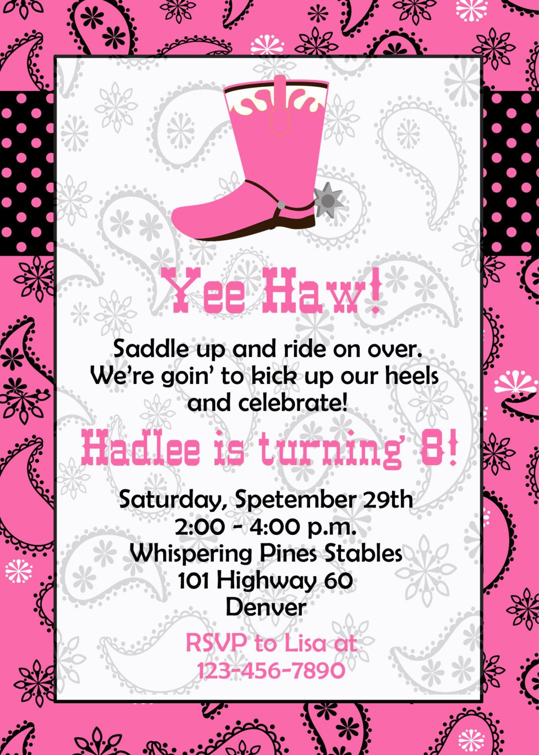 Horseback riding birthday party invitation - cowgirl birthday party ...