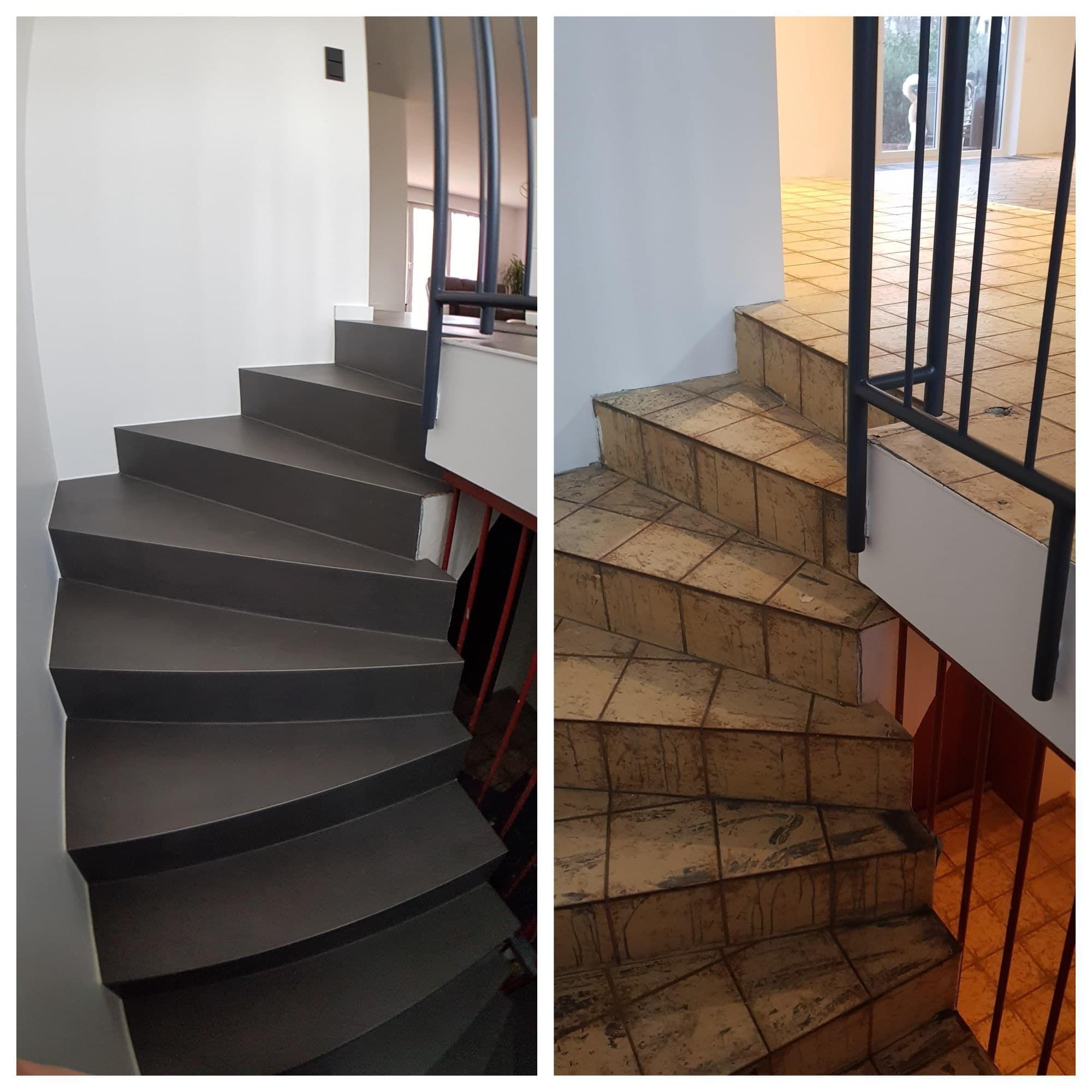 Alte Treppe fugenlos gespachtelt in Betonoptik