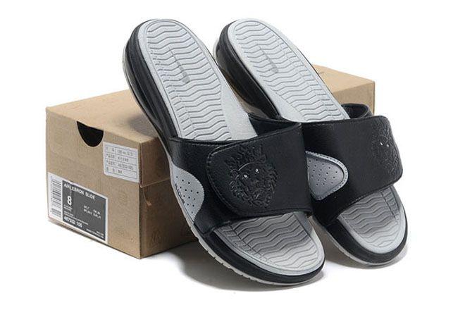 pretty nice 1b889 240cc Nike Air Lebron Slide-Mens Black Strata Grey White Casual Sneakers
