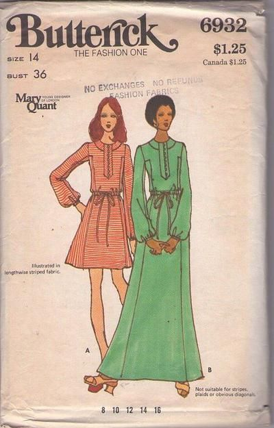 MOMSPatterns Vintage Sewing Patterns - Butterick 6932 Vintage 70's Sewing Pattern COLLECTIBLE Groovy Young Designer of London MARY QUANT Button & Loop Band Mod Dress, Maxi Gown, Contrast Side Panels Size 12