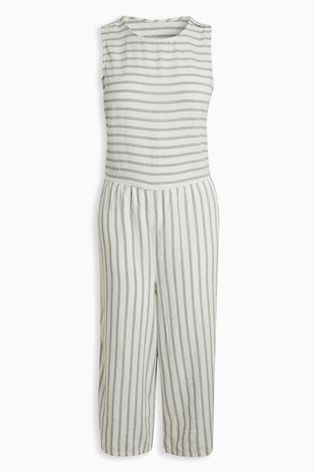 01f86ce4c78 Buy Ecru Stripe Wide Leg Linen Blend Jumpsuit from the Next UK online shop