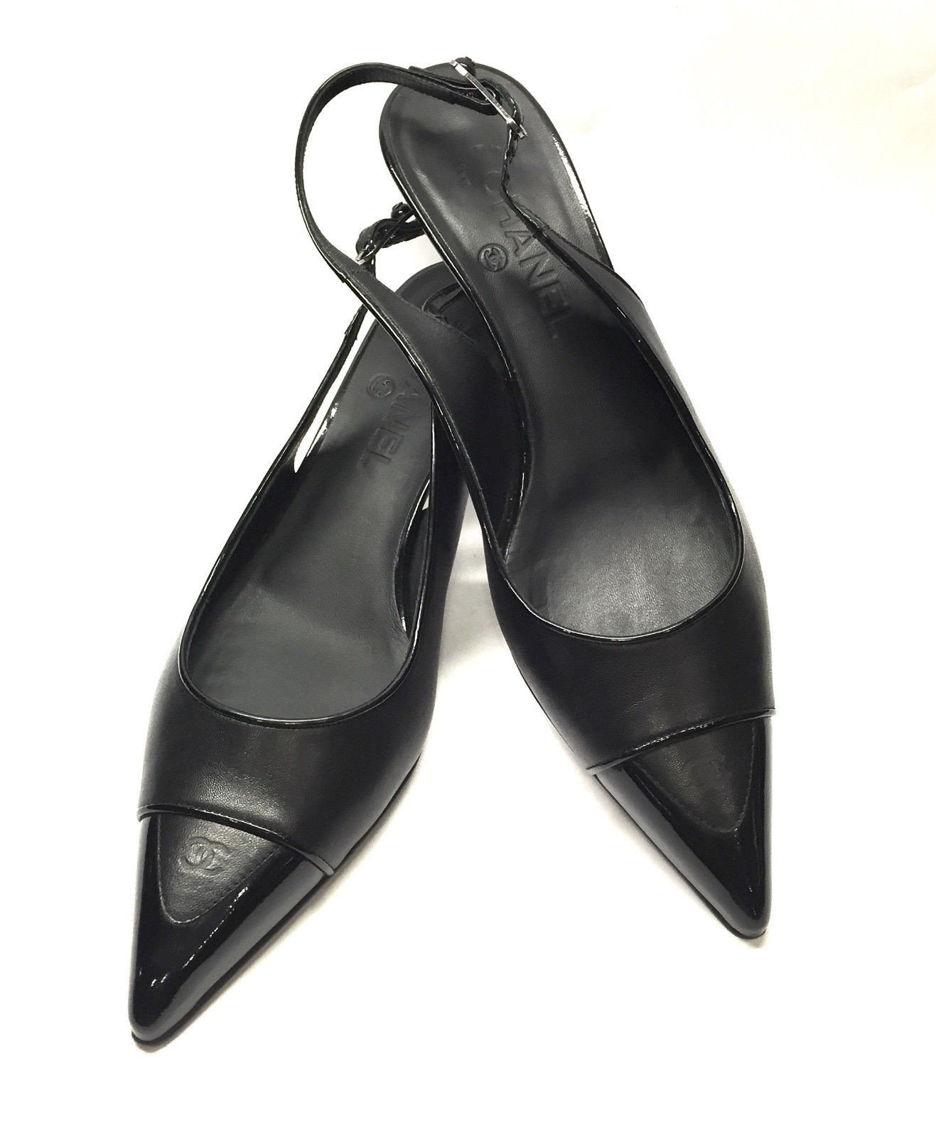 ac87485b8b8f CHANEL Black Leather Patent Logo Pointed Toe Low-Heel Slingback Pumps Shoes  Size  39.5