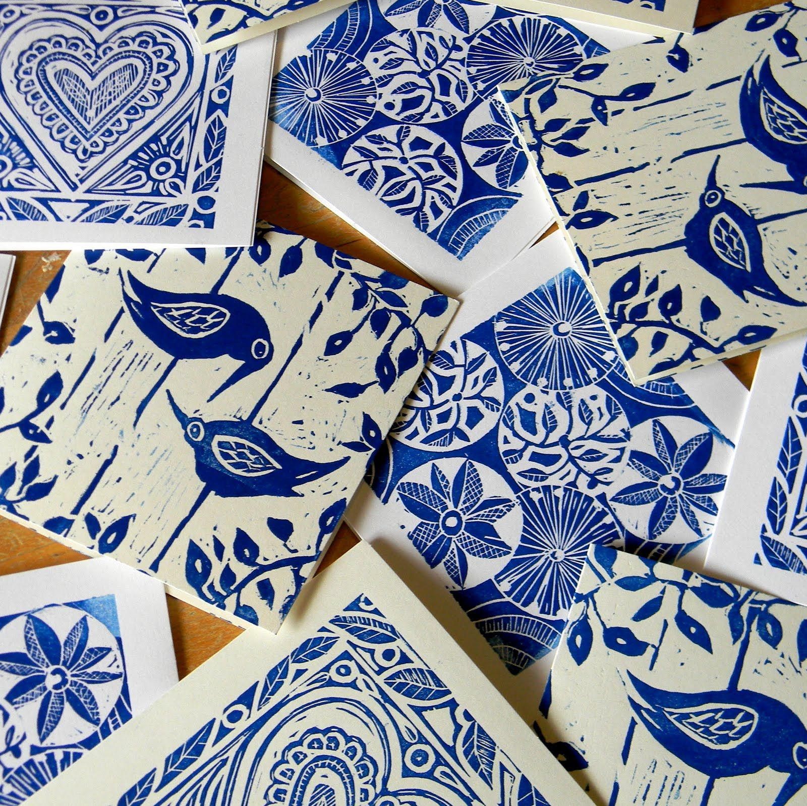 Lino prints -  blue and White. perhaps a foam plate print would be easier to get a great floral