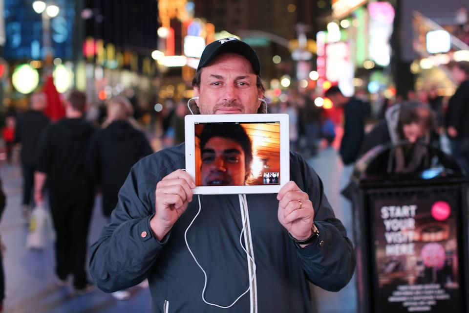 In this photo from Humans of New York, an Argentine man is captured on camera b/c his father live-streamed a visit to Times Square. Technology connects us across time & space!