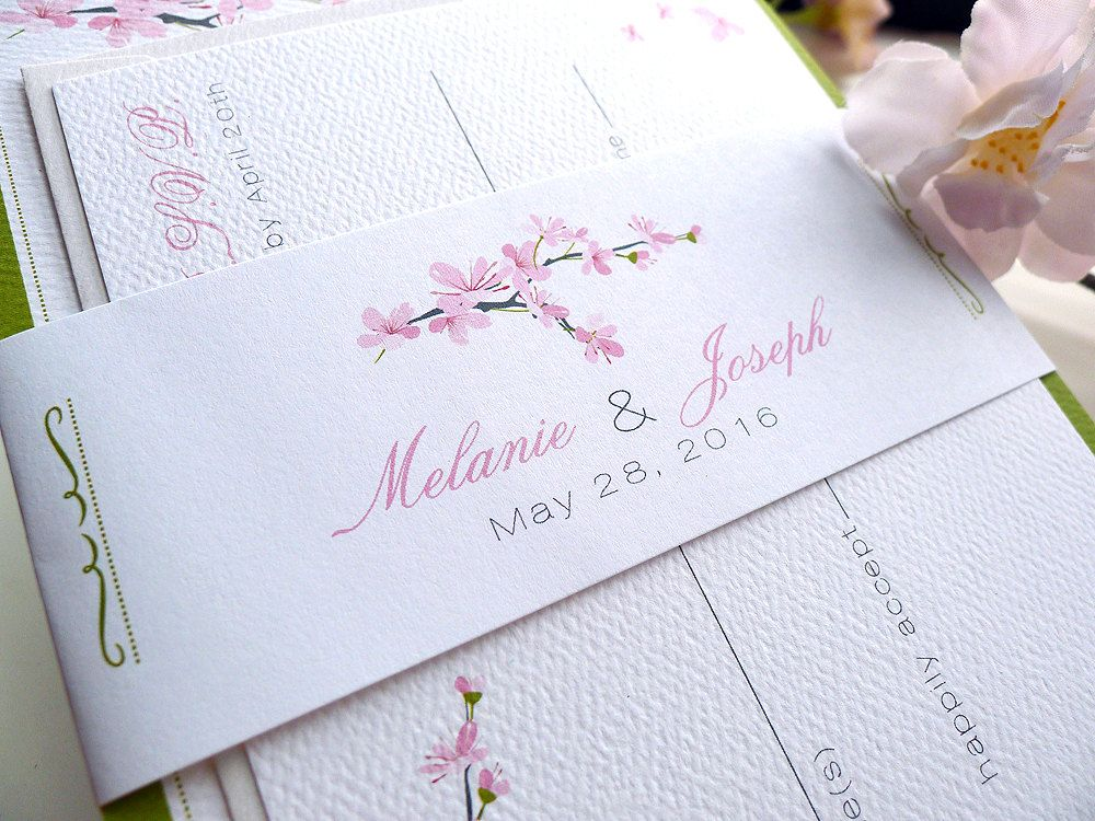 Cherry Blossoms Wedding Invitations | Cherry blossoms, Weddings ...