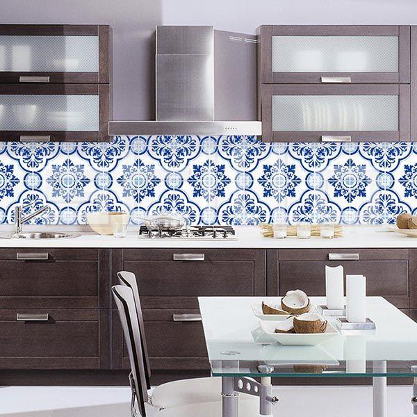 Adesivo azulejo vila real azul 3 pc cozinha pinterest for Azulejo azul