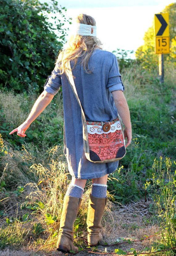 Lawson Hip Bag in hand-dyed terracotta vintage lace, hand-stitched mint arrow, jute strap, zippered pocket & rad giant button