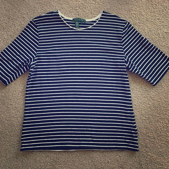 Large Ralph Lauren 3/4 sleeve shirt This is brand-new and was never worn. It is in perfect condition and is navy blue and white striped. Ralph Lauren Tops Tees - Long Sleeve