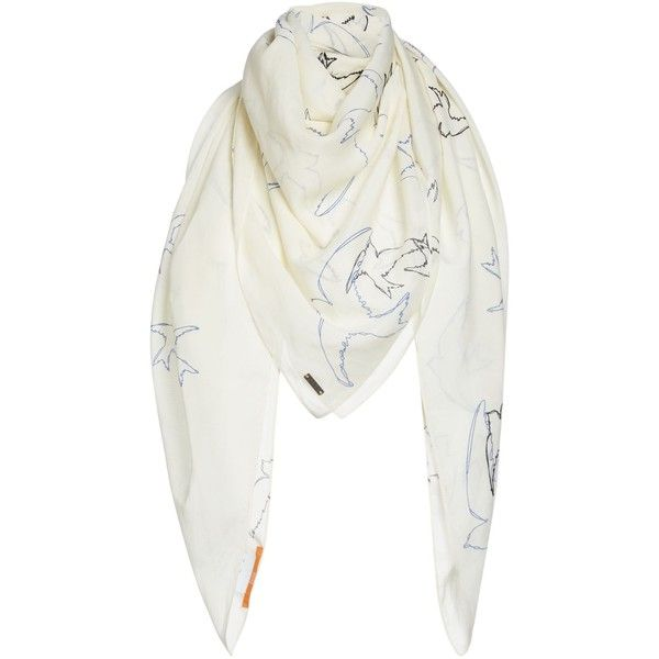 37ec3379031 Hugo Boss Nafleur Bird Print Scarf (110 NZD) ❤ liked on Polyvore featuring  accessories